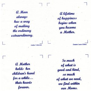 TALKING QUILTS ~ MINI SON QUOTES Contains 15 Screen Printed Quotes